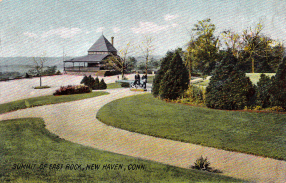 East Rock Park Summit, just in front of the large Civil War monument. The cannon and small building have been removed.
