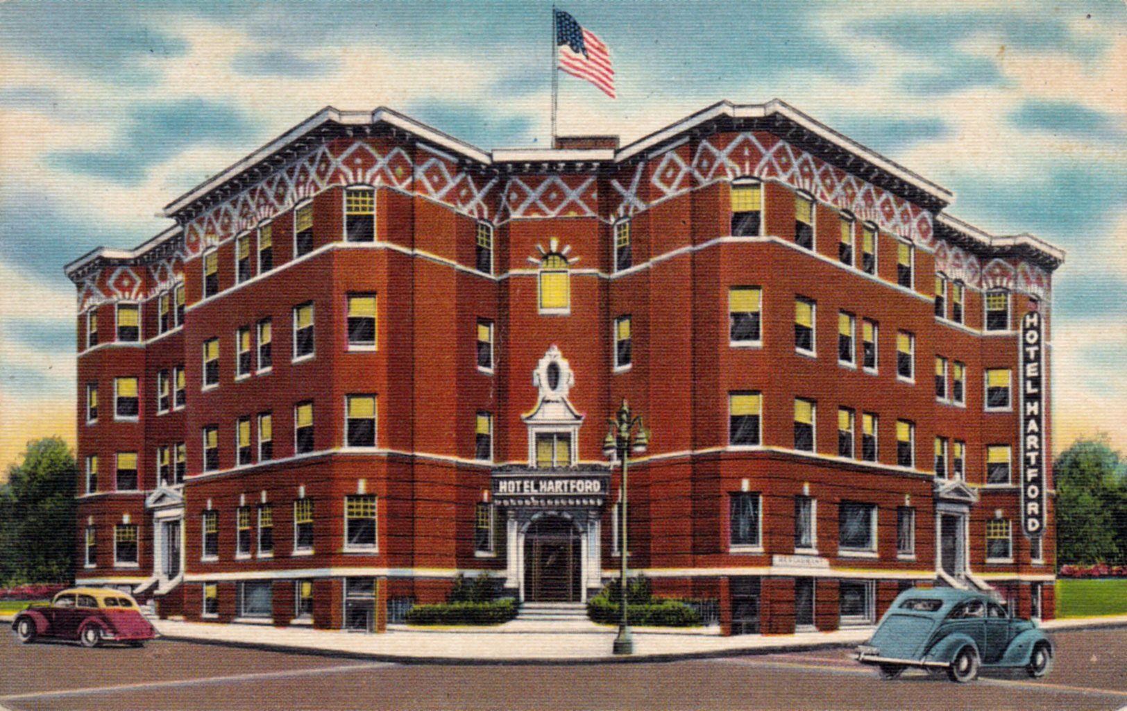 Hotel Hartford Depending On The Corner Site Is Either Civic Xl Center Or A Parking Lot Postmarked In 1948 Mailed To Madison Maine