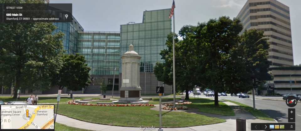 Stamford Soldiers Monument via Google Maps